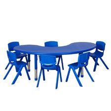 "7 Piece 65"" Kidney Classroom Table and Chair Set"