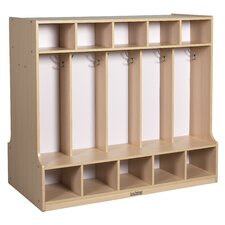 Double-Sided 10-Section Coat Locker with Bench
