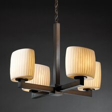 Modular Limoges 4 Light Chandelier with Round Shade