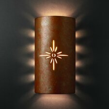 Sun Dagger Open Top and Bottom Large Cylinder 2 Light Wall Sconce
