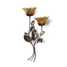 Amber Flower 2-Tealight Wall Sconce