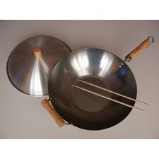 "3 Piece 14"" Flat Bottom Wok Set"