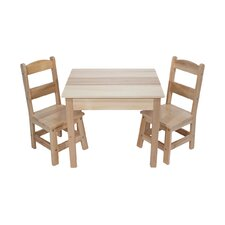 3 Piece Wooden Table and Chairs Set