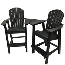 Phat Tommy 3 Piece Recycled Poly Balcony Settee Chair and Connecting Table Set
