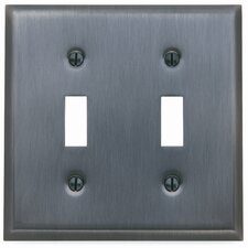 Classic Square Bevel Design Double Toggle Switch Plate