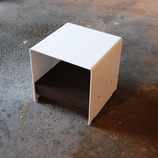 Plate Steel Cubic Table with Shelf