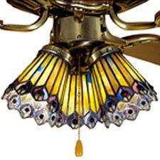 "4"" Tiffany Glass Bell Ceiling Fan Fitter Shade"