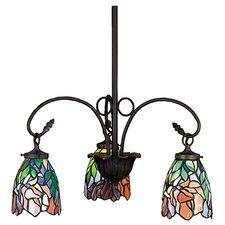 Art Glass Iris 3 Light Chandelier