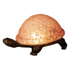 "Turtle Art Glass 4"" H Table Lamp with Bowl Shade"