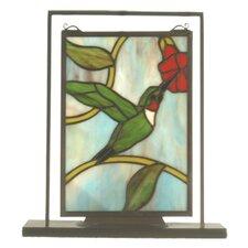 "Hummingbird Lighted Mini Tabletop Window 10.5"" H Table Lamp with Rectangular Shade"
