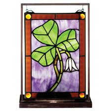 """Shamrock Lighted Mini Tabletop Window 10.5"""" H Table Lamp with Rectangular Shade"""
