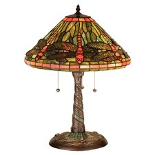 "Tiffany Dragonfly with Twisted Fly Mosaic Base 21"" H Table Lamp with Empire Shade"