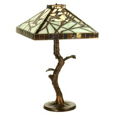"Tiffany Animals Backyard Friends Crooked Tree 22"" H Table Lamp with Square Shade"