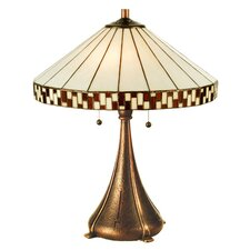 "Tiffany Prairie Mackintosh Asian Checkerboard 23"" H Table Lamp with Empire Shade"