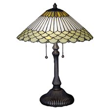 "Jadestone Fishscale 24"" H Table Lamp with Empire Shade"