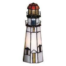 """Marble Head Lighthouse 9"""" H Table Lamp with Novelty Shade"""
