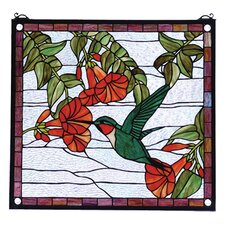 Floral Hummingbird Stained Glass Window