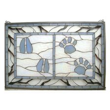 Lodge Tiffany Deer and Cougar Tracks Stained Glass Window