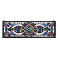 Victorian Evelyn in Lapis Transom Stained Glass Window