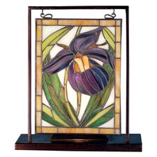 "Floral Lady Slippers Lighted Mini 10.5"" H Table Lamp with Rectangular Shade"