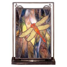 "Floral Insects Tiffany Dragonfly Lighted Mini 10.5"" H Table Lamp with Rectangular Shade"