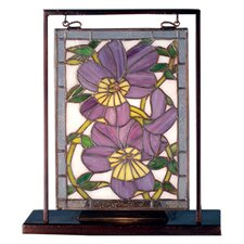 "Floral Pansies Lighted Mini 10.5"" H Table Lamp with Rectangular Shade"
