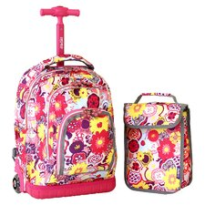 "Lollipop Poppy Pansy 16"" Children's Rolling Backpack with Lunch Bag"
