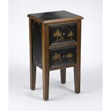 2 Drawer Chinoiserie End Table