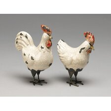 Chicken and Rooster Pair Figurine