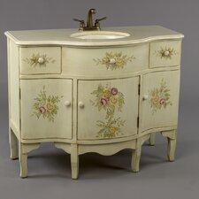 "44"" Single Painted Floral Style Bathroom Vanity Set"