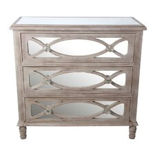3 Drawer Mirrored Accent Cabinet