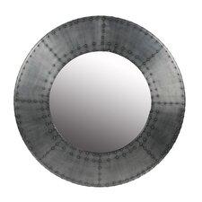 Wood and Aluminum Round Mirror