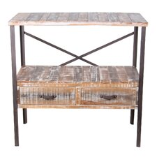 2 Drawer Iron and Wood Stand