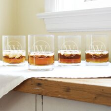 Personalized Circle Initial Highball Glass (Set of 4)