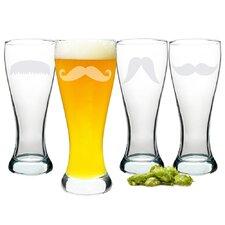 Gentleman's Mustache Pilsner Glass (Set of 4)