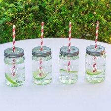 Personalized 4 Piece Mason Jar with Lid and Decorative Straw Set