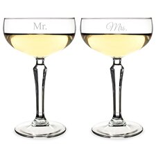 Mr. and Mrs. 2 Piece Champagne Coupe Toasting Flutes Set