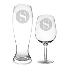 2 Piece Personalized Beer and Wine Glass Set