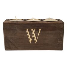 Personalized Rustic Wood Candle Holder