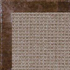 Paradise Retreat Jumbo Boucle Distressed Leather Chocolate Bordered Area Rug