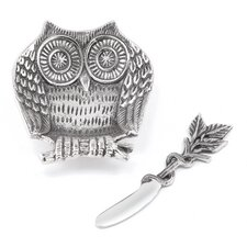 Owl Dip Dish and Spreader (Set of 2)