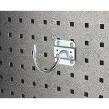 LocHook 3-3/4 In. Curved 3-3/32 In. I.D. Zinc Plated Steel Pegboard Hook for LocBoard, 5 Pack