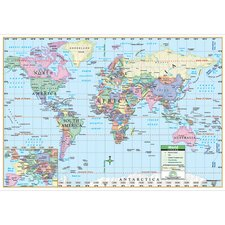 World Primary Mounted Wall Map