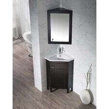 "Clarkson 24.25"" Single Corner Bathroom Vanity with Mirror"