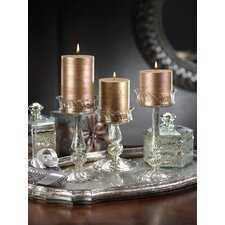 4 Piece Glass Candlestick Set