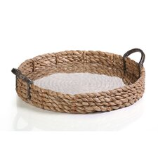 Seagrass Rolled Tray with Glass Insert