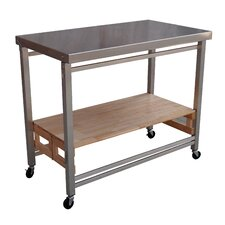 Folding Kitchen Island with Stainless Steel Top