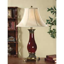 """Antique 31"""" H Table Lamp with Bell Shade"""