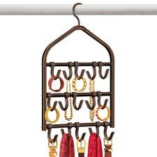 Accessory, Scarf, & Jewelry Organizer - Double-Sided - 15 Adjustable Hooks