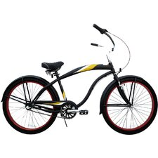 26 Inch Men Three Speed Premium Beach Cruiser - Flat Black with Red Wheels